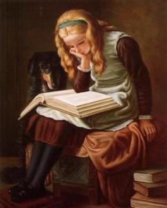 ученица читает книгу
